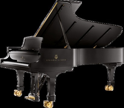 Piano tuner large black piano